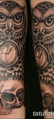 фото тату сова с черепом от 23.10.2017 №048 – tattoo owl with a skull – tatufoto.com
