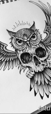 фото тату сова с черепом от 23.10.2017 №050 – tattoo owl with a skull – tatufoto.com