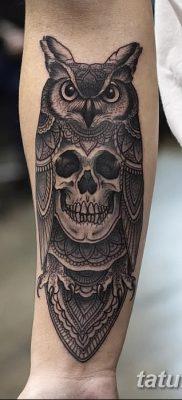 фото тату сова с черепом от 23.10.2017 №052 – tattoo owl with a skull – tatufoto.com