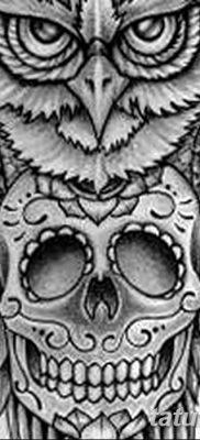 фото тату сова с черепом от 23.10.2017 №053 – tattoo owl with a skull – tatufoto.com