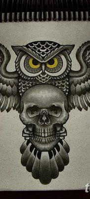 фото тату сова с черепом от 23.10.2017 №054 — tattoo owl with a skull — tatufoto.com
