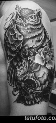 фото тату сова с черепом от 23.10.2017 №059 – tattoo owl with a skull – tatufoto.com