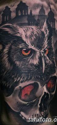 фото тату сова с черепом от 23.10.2017 №064 – tattoo owl with a skull – tatufoto.com