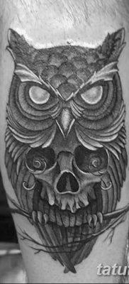 фото тату сова с черепом от 23.10.2017 №066 – tattoo owl with a skull – tatufoto.com