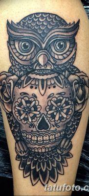фото тату сова с черепом от 23.10.2017 №069 – tattoo owl with a skull – tatufoto.com