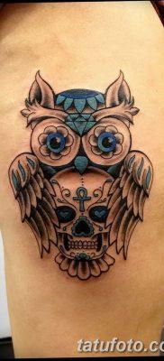 фото тату сова с черепом от 23.10.2017 №070 – tattoo owl with a skull – tatufoto.com