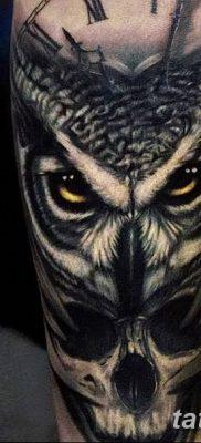 фото тату сова с черепом от 23.10.2017 №072 – tattoo owl with a skull – tatufoto.com