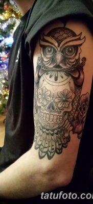 фото тату сова с черепом от 23.10.2017 №073 – tattoo owl with a skull – tatufoto.com