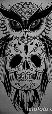 фото тату сова с черепом от 23.10.2017 №074 — tattoo owl with a skull — tatufoto.com