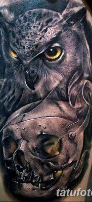 фото тату сова с черепом от 23.10.2017 №075 – tattoo owl with a skull – tatufoto.com