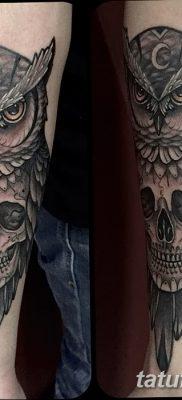 фото тату сова с черепом от 23.10.2017 №077 – tattoo owl with a skull – tatufoto.com