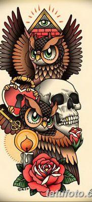 фото тату сова с черепом от 23.10.2017 №080 — tattoo owl with a skull — tatufoto.com