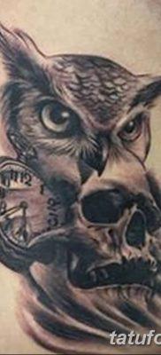 фото тату сова с черепом от 23.10.2017 №081 – tattoo owl with a skull – tatufoto.com