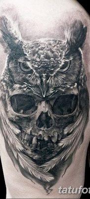 фото тату сова с черепом от 23.10.2017 №082 – tattoo owl with a skull – tatufoto.com