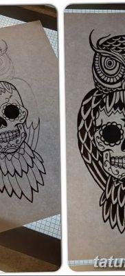 фото тату сова с черепом от 23.10.2017 №085 – tattoo owl with a skull – tatufoto.com