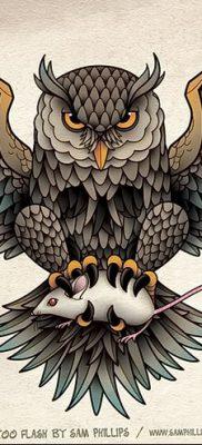 фото тату сова с черепом от 23.10.2017 №086 – tattoo owl with a skull – tatufoto.com
