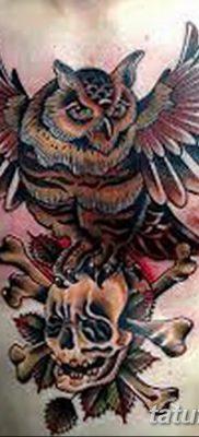 фото тату сова с черепом от 23.10.2017 №088 – tattoo owl with a skull – tatufoto.com