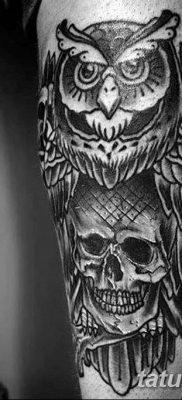 фото тату сова с черепом от 23.10.2017 №091 – tattoo owl with a skull – tatufoto.com