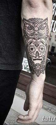 фото тату сова с черепом от 23.10.2017 №094 – tattoo owl with a skull – tatufoto.com