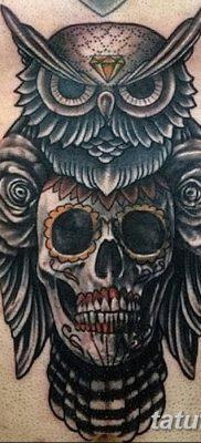 фото тату сова с черепом от 23.10.2017 №095 – tattoo owl with a skull – tatufoto.com