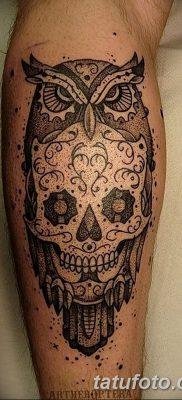 фото тату сова с черепом от 23.10.2017 №099 – tattoo owl with a skull – tatufoto.com