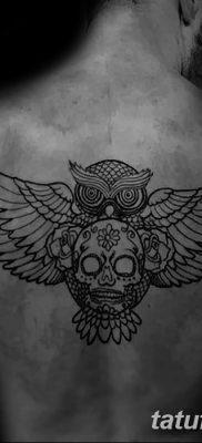 фото тату сова с черепом от 23.10.2017 №119 — tattoo owl with a skull — tatufoto.com