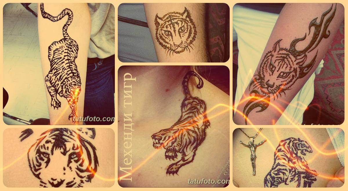 Мехенди тигр - коллекция готовых рисунков хной на теле