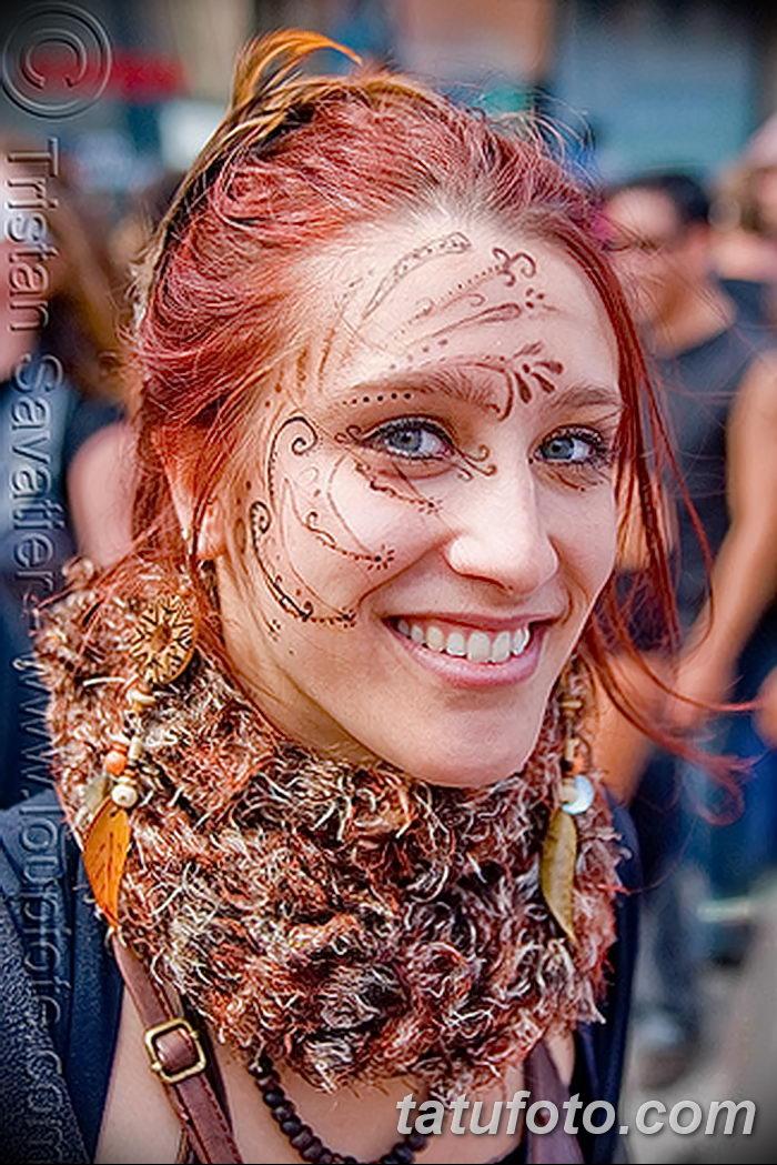 фото Мехенди на лице от 27.11.2017 №017 - Mehendi's face - tatufoto.com 235234