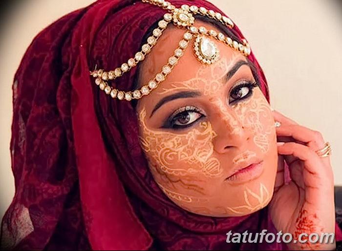 фото Мехенди на лице от 27.11.2017 №044 - Mehendi's face - tatufoto.com