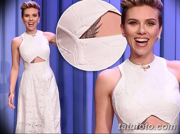 фото Тату Скарлетт Йохансон от 10.11.2017 №012 - Scarlett Johansson Tatto - tatufoto.com