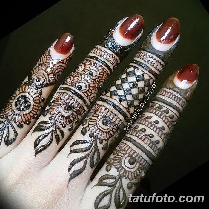 фото Мехенди на пальцах рук от 26.12.2017 №022 - Mehendi on fingers of han - tatufoto.com