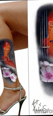 фото тату Скрипка от 26.12.2017 №043 – tattoo Violin – tatufoto.com