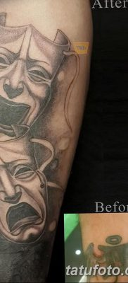 фото тату две маски от 21.12.2017 №001 – tattoo two masks – tatufoto.com