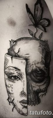 фото тату две маски от 21.12.2017 №003 – tattoo two masks – tatufoto.com