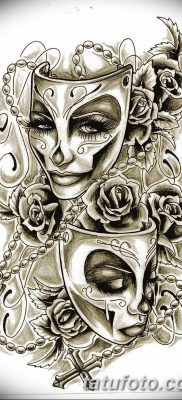 фото тату две маски от 21.12.2017 №004 – tattoo two masks – tatufoto.com