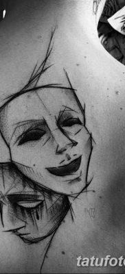 фото тату две маски от 21.12.2017 №005 – tattoo two masks – tatufoto.com