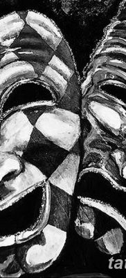 фото тату две маски от 21.12.2017 №025 – tattoo two masks – tatufoto.com