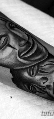 фото тату две маски от 21.12.2017 №037 – tattoo two masks – tatufoto.com