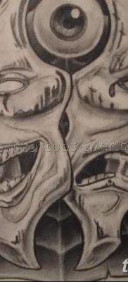 фото тату две маски от 21.12.2017 №047 – tattoo two masks – tatufoto.com 26242354262434