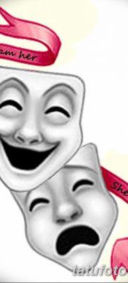 фото тату две маски от 21.12.2017 №053 – tattoo two masks – tatufoto.com