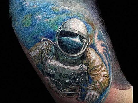 фото тату космонавт от 25.12.2017 №089 - cosmonaut tattoo - tatufoto.com
