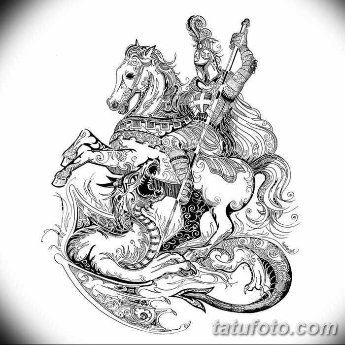 фото эскиз тату георгий победоносец от 28.12.2017 №004 - St. George - tatufoto.com