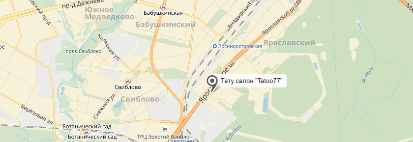 Tattoo-77 - тату салон в Москве - картинка - найти на карте - расположение - проезд