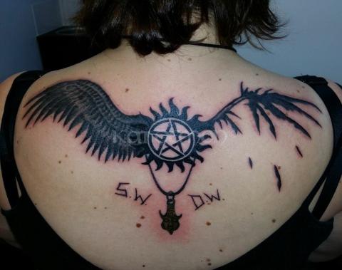Ангельские крылья - фото тату