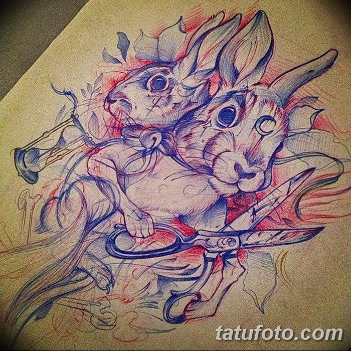 фото Эскизы тату кролик от 09.01.2018 №005 - Sketches of a rabbit tattoo - tatufoto.com