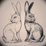 фото Эскизы тату кролик от 09.01.2018 №007 - Sketches of a rabbit tattoo - tatufoto.com