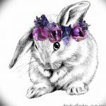 фото Эскизы тату кролик от 09.01.2018 №009 - Sketches of a rabbit tattoo - tatufoto.com