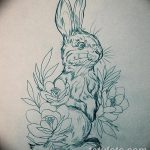 фото Эскизы тату кролик от 09.01.2018 №013 - Sketches of a rabbit tattoo - tatufoto.com