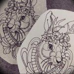 фото Эскизы тату кролик от 09.01.2018 №014 - Sketches of a rabbit tattoo - tatufoto.com