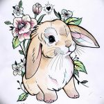 фото Эскизы тату кролик от 09.01.2018 №015 - Sketches of a rabbit tattoo - tatufoto.com